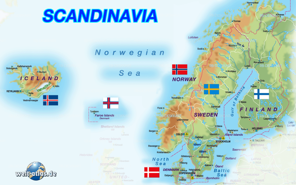 Map of Scandinavia  Welt-Atlas de
